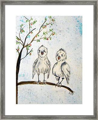 Chatty Birdies Framed Print by Rita Drolet