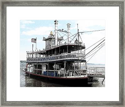 Chautauqua Belle Steamboat With Ink Sketch Effect Framed Print
