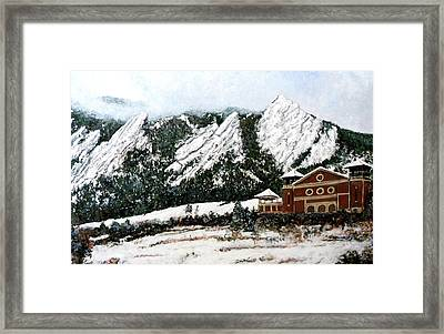 Framed Print featuring the painting Chautauqua - Winter, Late Afternoon by Tom Roderick