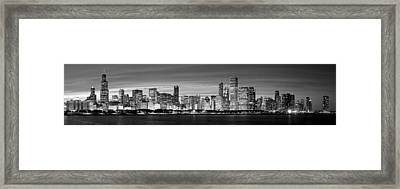 Chciago Skyline In Black And White Framed Print by Twenty Two North Photography