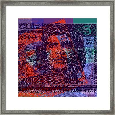 Che Guevara 3 Peso Cuban Bank Note - #3 Framed Print