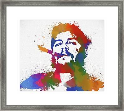Che Guevara Paint Splatter Framed Print