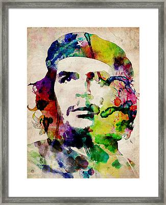 Che Guevara Urban Watercolor Framed Print by Michael Tompsett