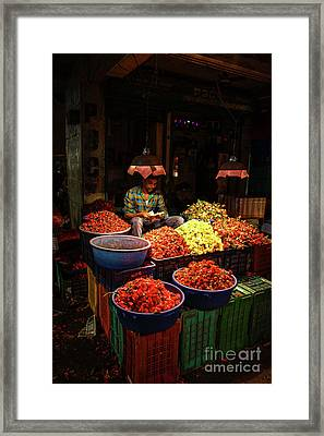 Framed Print featuring the photograph Cheannai Flower Market Colors by Mike Reid