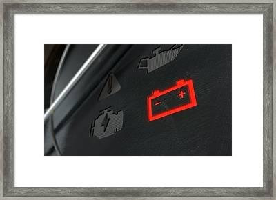 Check Battery Dashboard Light Framed Print by Allan Swart