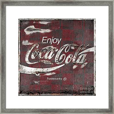Checkered Coca Cola Sign Framed Print