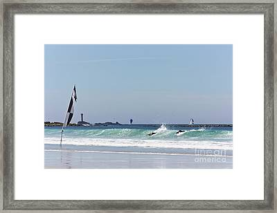 Checkered Flag Over The Longships Framed Print by Terri Waters