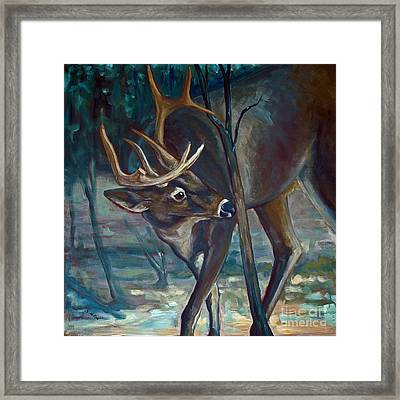 Checking A Rub Framed Print by Suzanne McKee