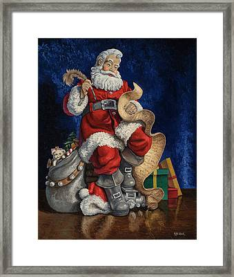 Checking His List Framed Print by Kyle Wood