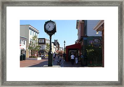 Framed Print featuring the painting Checking Out The Shops In Cape May by Rod Jellison