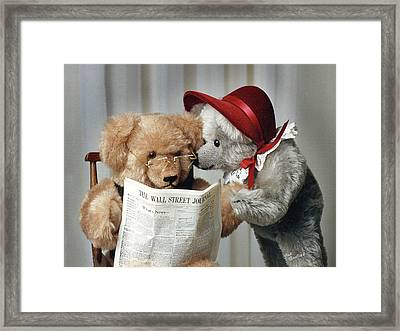 Checking Stock Quotes Framed Print by Judi Quelland