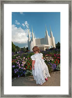 Checking The Flowers Framed Print
