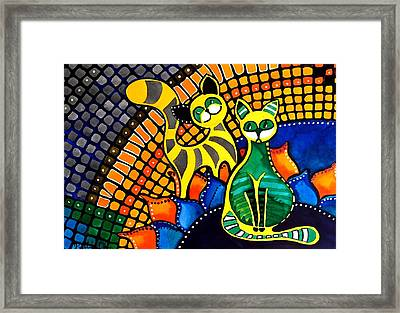 Framed Print featuring the painting Cheer Up My Friend - Cat Art By Dora Hathazi Mendes by Dora Hathazi Mendes
