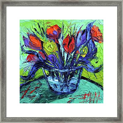 Cheerful Abstract Flowers Framed Print by Mona Edulesco