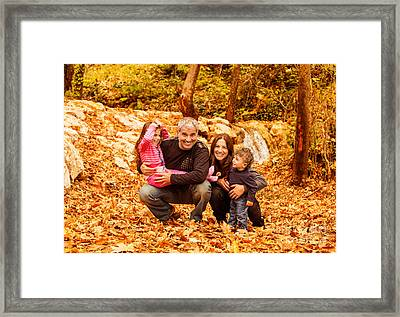 Cheerful Family In Autumn Woods Framed Print