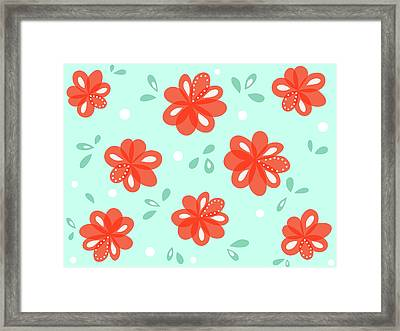 Cheerful Red Flowers Framed Print