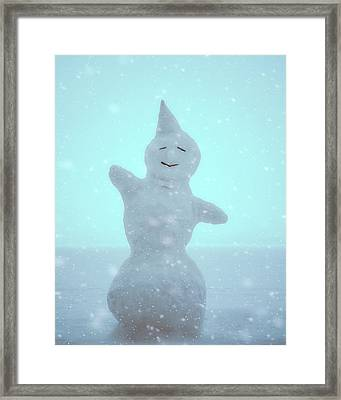 Framed Print featuring the photograph Cheerful Snowman by Ari Salmela