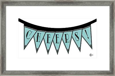 Pennant Deco Blues Streamer Sign Cheers Framed Print