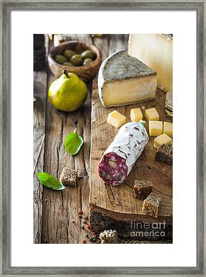 Cheese And Salami Framed Print by Mythja Photography