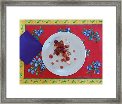 Framed Print featuring the digital art Cheese Cake With Cherries by Jana Russon