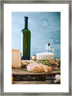 Cheese On Wood Framed Print by Mythja Photography