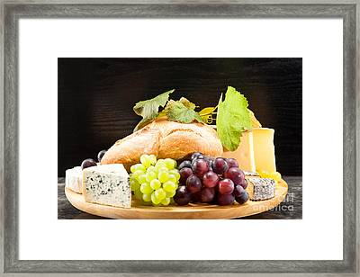 Cheese Plate With Red And Green Wine Grapes Framed Print