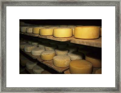 Cheese Ripens On Shelves In A Cave Framed Print