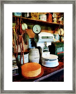 Cheese Sausage And Scale Framed Print by Susan Savad