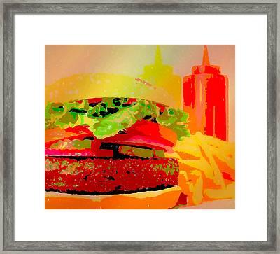 Cheeseburger And Fries Pop Art Framed Print