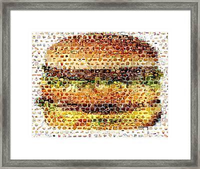 Framed Print featuring the mixed media Cheeseburger Fast Food Mosaic by Paul Van Scott