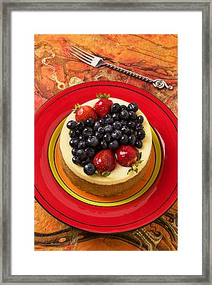 Cheesecake On Red Plate Framed Print by Garry Gay
