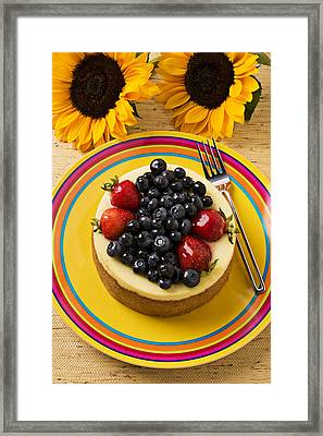 Cheesecake With Fruit Framed Print by Garry Gay