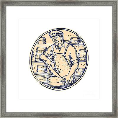 Cheesemaker Cutting Cheddar Cheese Etching Framed Print by Aloysius Patrimonio