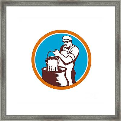 Cheesemaker Pouring Bucket Curd Circle Woodcut Framed Print