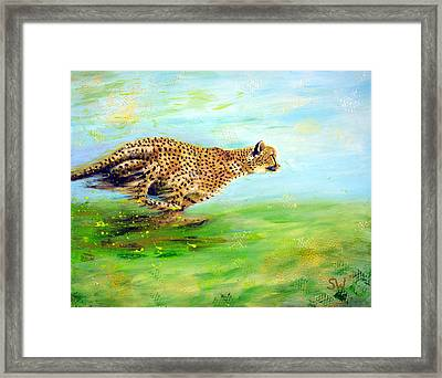 Cheetah At Speed Framed Print