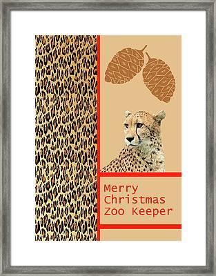 Cheetah Card For Zoo Keeper Framed Print