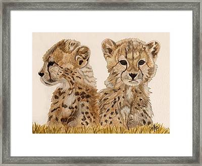 Cheetah Cubs Watercolor Framed Print by Angeles M Pomata
