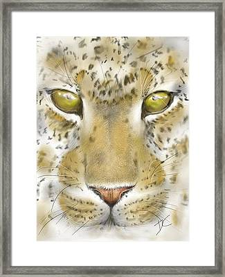 Framed Print featuring the digital art Cheetah Face by Darren Cannell