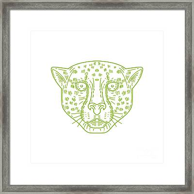 Cheetah Head Mono Line Framed Print