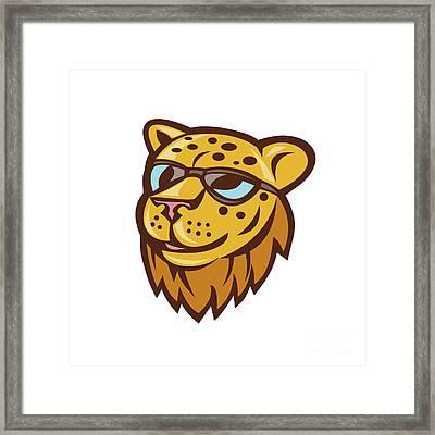 Cheetah Head Sunglasses Smiling Cartoon Framed Print