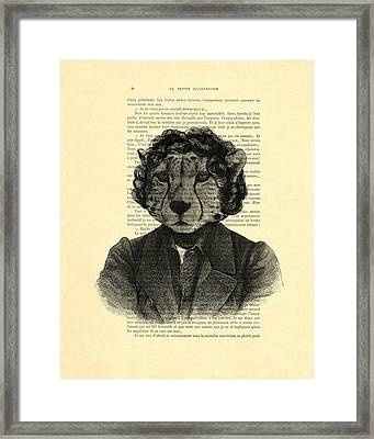 Cheetah On Dictionary Book Page Framed Print