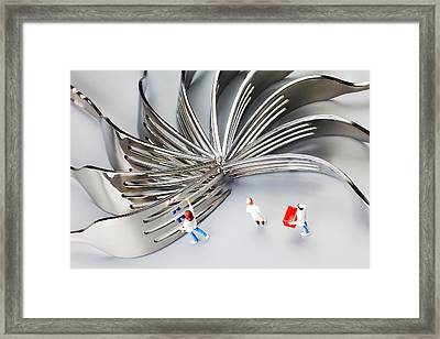 Framed Print featuring the photograph Chef And Forks Little People On Food  by Paul Ge