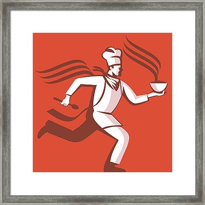 Chef Cook Baker Running With Soup Bowl Framed Print