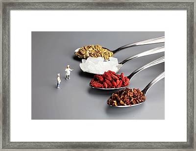 Chef Discussing Cooking Recipes Framed Print by Paul Ge