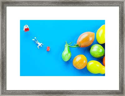 Framed Print featuring the painting Chef Tumbled In Front Of Colorful Tomatoes II Little People On Food by Paul Ge