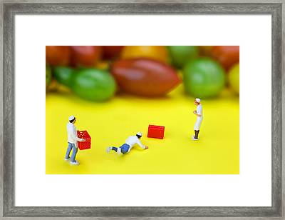 Framed Print featuring the painting Chef Tumbled In Front Of Colorful Tomatoes Little People On Food by Paul Ge