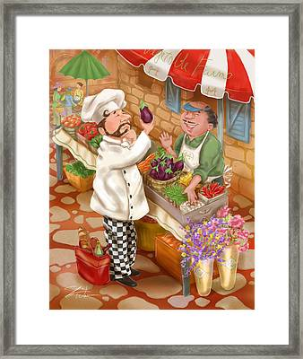 Chefs Go To Market I Framed Print by Shari Warren