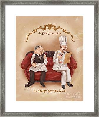 Chefs On A Break-a Little Conversation Framed Print by Shari Warren