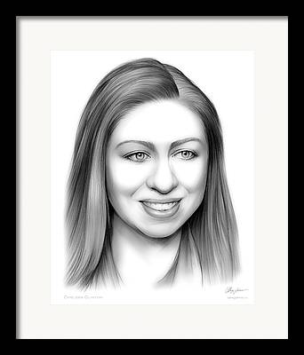 Hillary Clinton Drawings Framed Prints