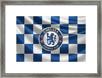 Chelsea F C - 3 D Badge Over Flag Framed Print by Serge Averbukh